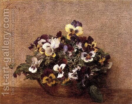 Pansies I by Ignace Henri Jean Fantin-Latour - Reproduction Oil Painting