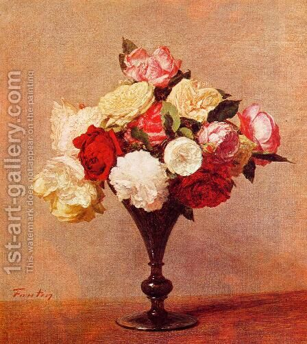 Roses in a Vase I by Ignace Henri Jean Fantin-Latour - Reproduction Oil Painting