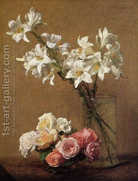Roses and Lilies by Ignace Henri Jean Fantin-Latour - Reproduction Oil Painting