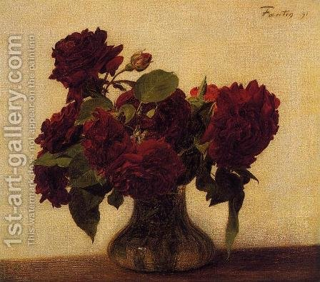 Roses foncees sur fond clair by Ignace Henri Jean Fantin-Latour - Reproduction Oil Painting