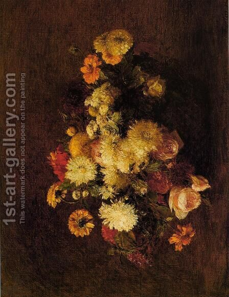 Bouquet of Flowers I by Ignace Henri Jean Fantin-Latour - Reproduction Oil Painting