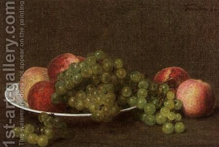 Peaches and Grapes by Ignace Henri Jean Fantin-Latour - Reproduction Oil Painting