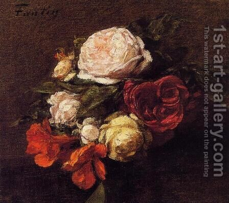 Roses and Nasturtiums (duplicate image) by Ignace Henri Jean Fantin-Latour - Reproduction Oil Painting