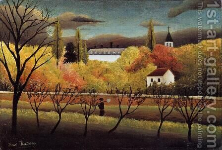 Landscape with Farmer by Henri Julien Rousseau - Reproduction Oil Painting