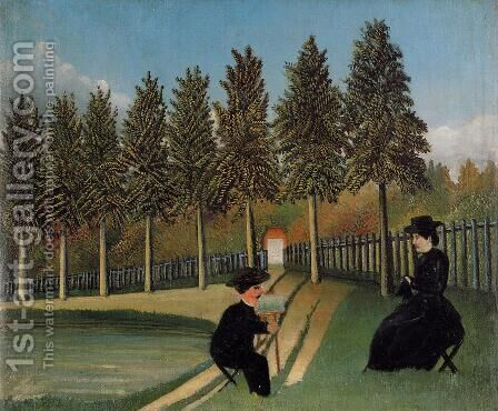 The Painter and His Wife by Henri Julien Rousseau - Reproduction Oil Painting
