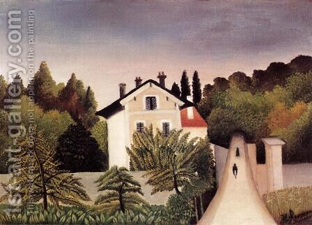 House on the Outskirts of Paris by Henri Julien Rousseau - Reproduction Oil Painting