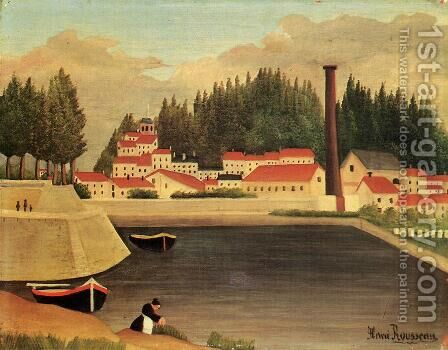 Village near a Factory by Henri Julien Rousseau - Reproduction Oil Painting