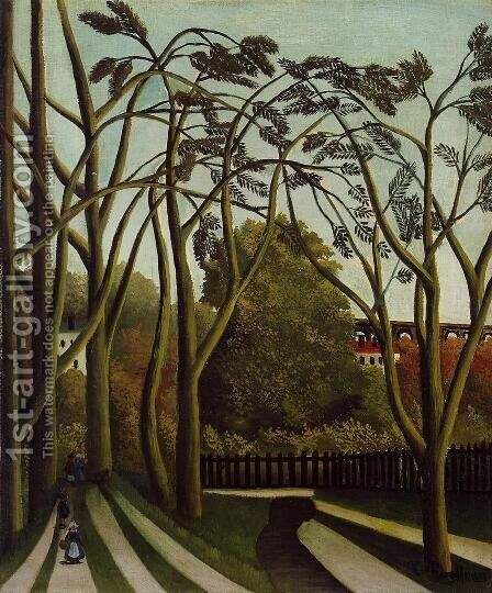 Landscape on the Banks of the Bievre at Becetre, Spring by Henri Julien Rousseau - Reproduction Oil Painting
