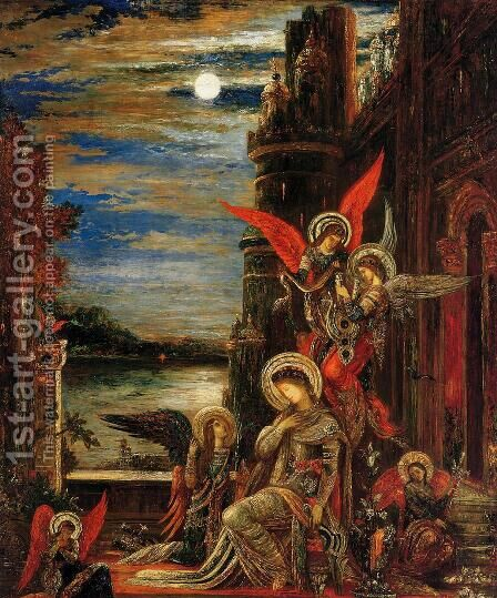Saint Cecilia: Angels Announcing Her Impending Martyrdom by Gustave Moreau - Reproduction Oil Painting