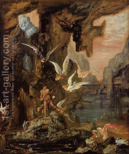 Hercules at Lake Stymphalos by Gustave Moreau - Reproduction Oil Painting