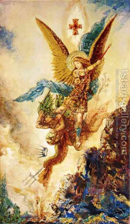 Saint Michael Vanquishing Satan by Gustave Moreau - Reproduction Oil Painting