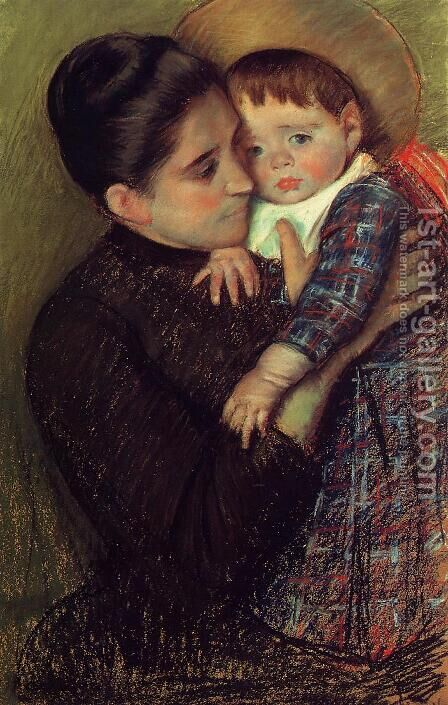 Woman and Her Child by Mary Cassatt - Reproduction Oil Painting