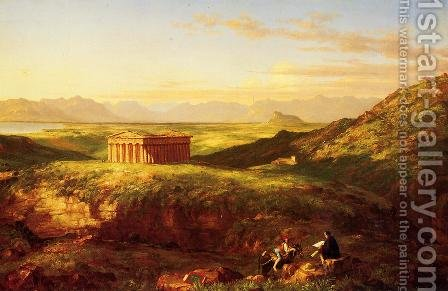 The Temple of Segesta with the Artist Sketching by Clement Pujol de Gustavino - Reproduction Oil Painting