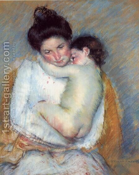 Mother and Child V by Mary Cassatt - Reproduction Oil Painting