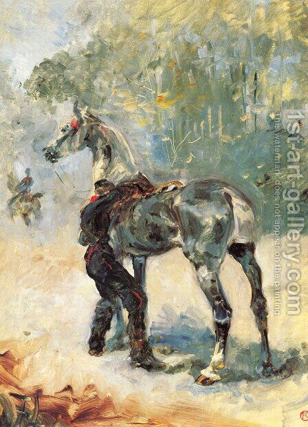 Artilleryman Saddling His Horse by Toulouse-Lautrec - Reproduction Oil Painting
