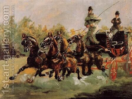 Alphonse de Toulouse-Lautrec Driving His Four-in-Hand by Toulouse-Lautrec - Reproduction Oil Painting