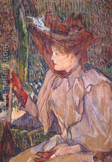 Woman with Gloves by Toulouse-Lautrec - Reproduction Oil Painting