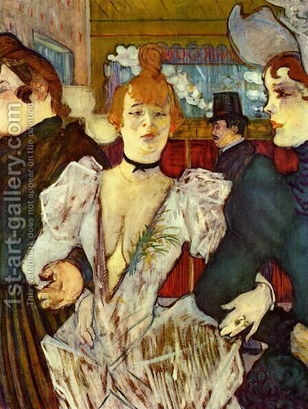 La Goulue Arriving at the Moulin Rouge with Two Women by Toulouse-Lautrec - Reproduction Oil Painting