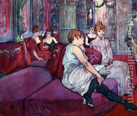 The Salon in the Rue des Moulins by Toulouse-Lautrec - Reproduction Oil Painting