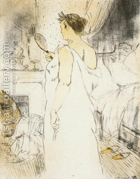 Elles: Woman Looking into a Hand Held Mirror by Toulouse-Lautrec - Reproduction Oil Painting