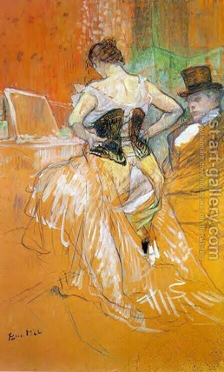 Elles: Woman in a Corset by Toulouse-Lautrec - Reproduction Oil Painting