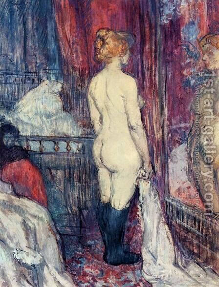 Nude Standing before a Mirror by Toulouse-Lautrec - Reproduction Oil Painting