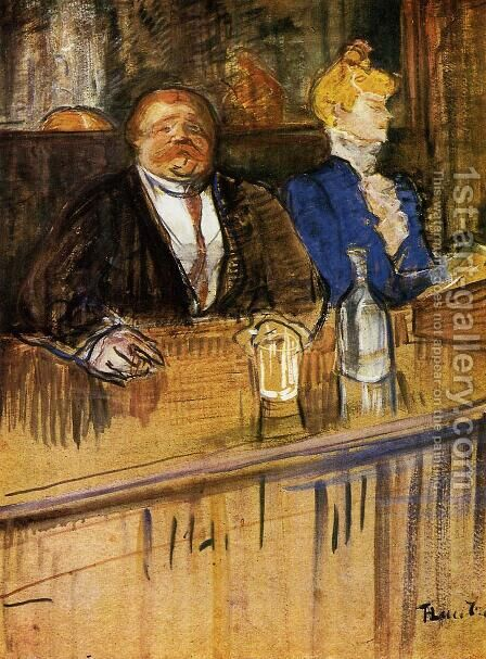 At the Cafe: The Customer and the Anemic Cashier by Toulouse-Lautrec - Reproduction Oil Painting