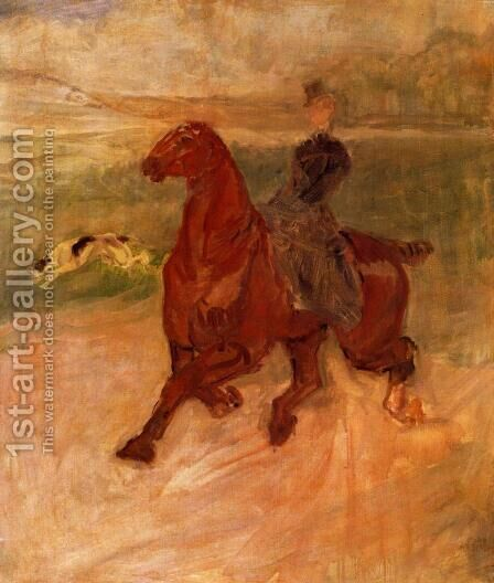 Horsewoman and Dog by Toulouse-Lautrec - Reproduction Oil Painting