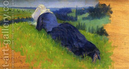 Peasant Woman Stretched out on the Grass by Henri Edmond Cross - Reproduction Oil Painting