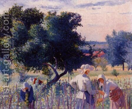 Femmes liant la vigne by Henri Edmond Cross - Reproduction Oil Painting