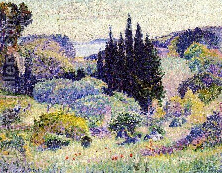 Cypress, April by Henri Edmond Cross - Reproduction Oil Painting