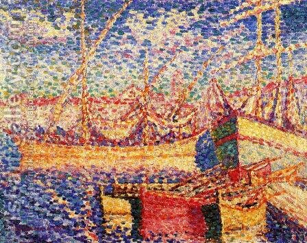 Boats in the Port of St. Tropez by Henri Edmond Cross - Reproduction Oil Painting
