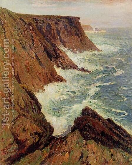 La Cote Sauvage, Croix by Henri Moret - Reproduction Oil Painting