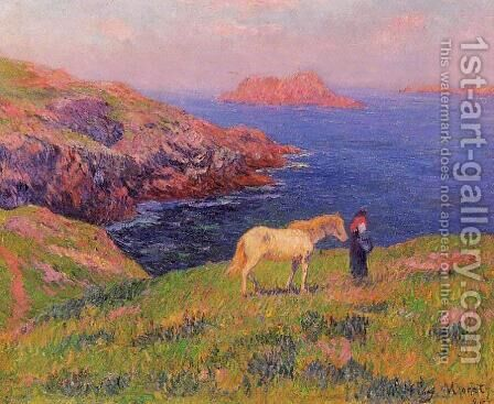 Cliff at Quesant with Horse by Henri Moret - Reproduction Oil Painting
