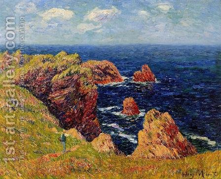 Promenade on the Coastal Path by Henri Moret - Reproduction Oil Painting