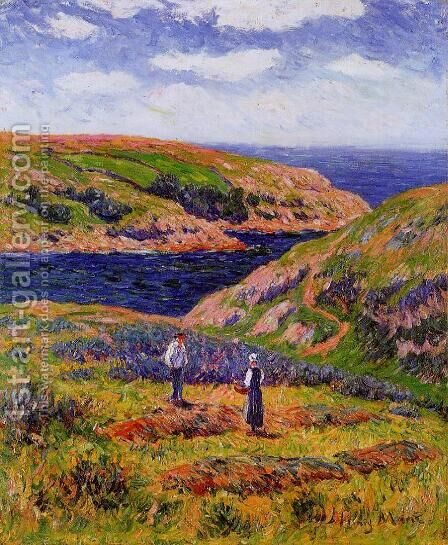 Cliffs at Clohars, Carnoet by Henri Moret - Reproduction Oil Painting