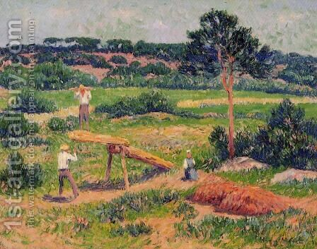Bretons Working with Wood by Henri Moret - Reproduction Oil Painting