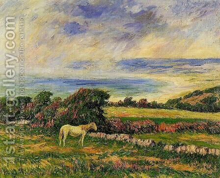Horse in a Meadow by Henri Moret - Reproduction Oil Painting