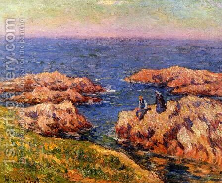 Rocky Coast, Brittany by Henri Moret - Reproduction Oil Painting