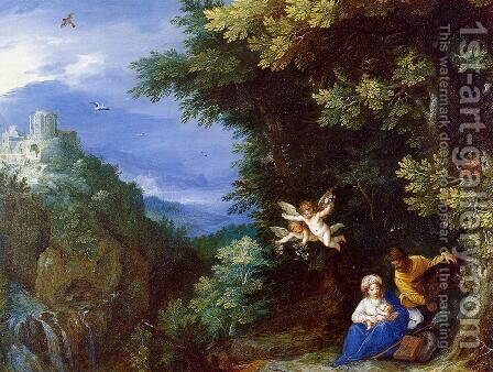 The Rest on the Flight to Egypt by Jan The Elder Brueghel - Reproduction Oil Painting