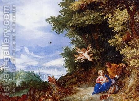 The Rest on the Flight to Egypt I by Jan The Elder Brueghel - Reproduction Oil Painting