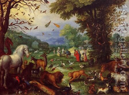 Landscape of Paradise and the Loading of the Animals in Noah's Ark by Jan The Elder Brueghel - Reproduction Oil Painting