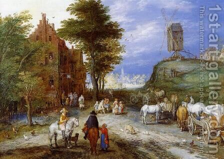 Village Entrance with Windmill by Jan The Elder Brueghel - Reproduction Oil Painting