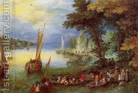 River Landscape by Jan The Elder Brueghel - Reproduction Oil Painting