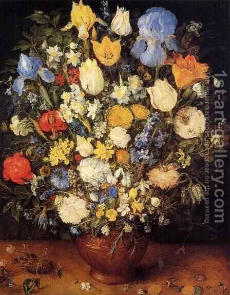 Bouquet of Flowers in a Ceramic Vase by Jan The Elder Brueghel - Reproduction Oil Painting