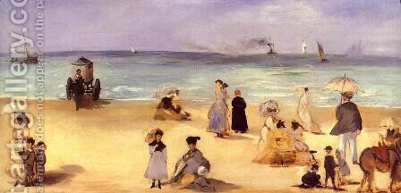 On the Beach at Boulogne by Edouard Manet - Reproduction Oil Painting
