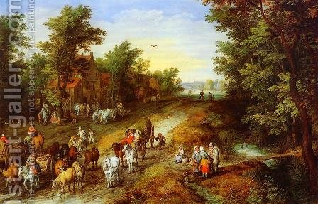 Rustic Landscape with Inn and Travellers by Jan The Elder Brueghel - Reproduction Oil Painting