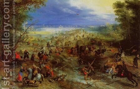 Equestrian Battle near a Mill by Jan The Elder Brueghel - Reproduction Oil Painting