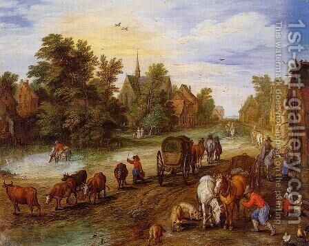 Busy Village Street with Resting Travellers by Jan The Elder Brueghel - Reproduction Oil Painting