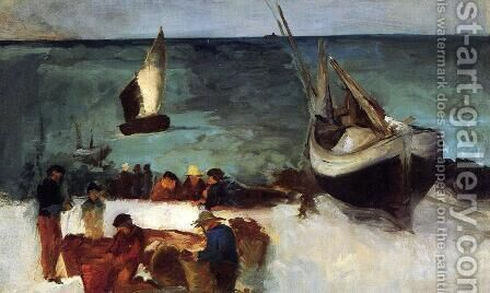 Berck Seascape: Fishing Boats and Fishermen by Edouard Manet - Reproduction Oil Painting